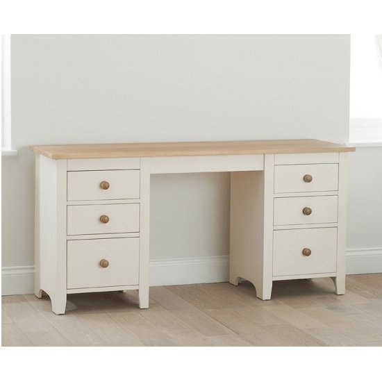 Verso Double Pedestal Dressing Table In Solid Pine And Ash 1