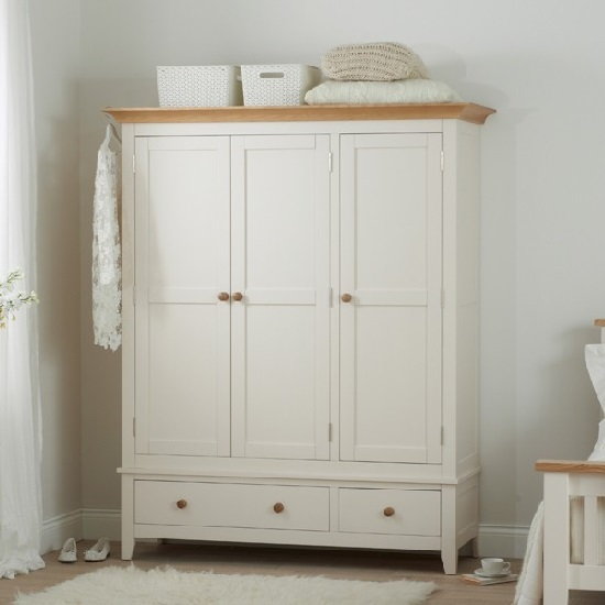 Verso Wooden Wardrobe In Ivory White With 3 Doors 2 Drawers