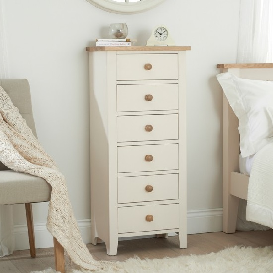 Verso Tall Chest Of Drawers In Ivory White With 6 Drawers