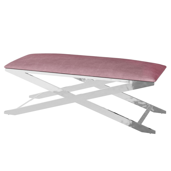 Vertue Velvet Fabric Upholstered Dining Bench In Pink