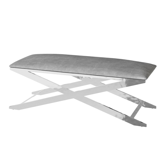 Vertue Velvet Fabric Upholstered Dining Bench In Silver Grey