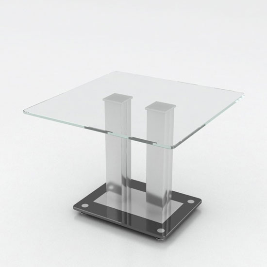 Verve Glass End Table In Clear With Stainless Steel Base_1