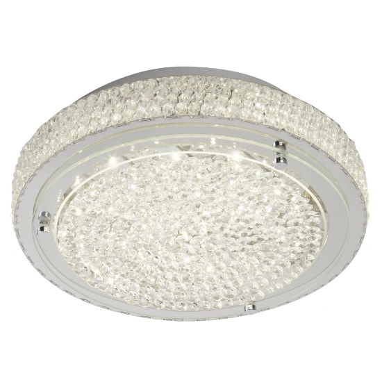 Vesta LED Flush Light In Chrome With Crystal Centre Decor