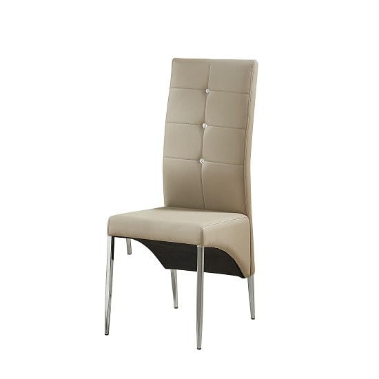 Vesta Studded Dining Chair In Taupe Faux Leather