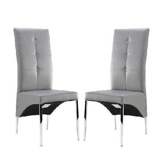 vesta studded dining room chair in grey faux leather in a. Black Bedroom Furniture Sets. Home Design Ideas