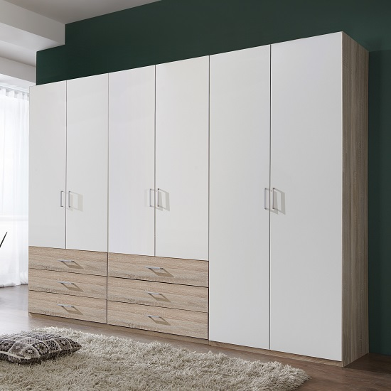 Vestra Wooden Wardrobe Wide In Oak Effect And White With 6 Doors