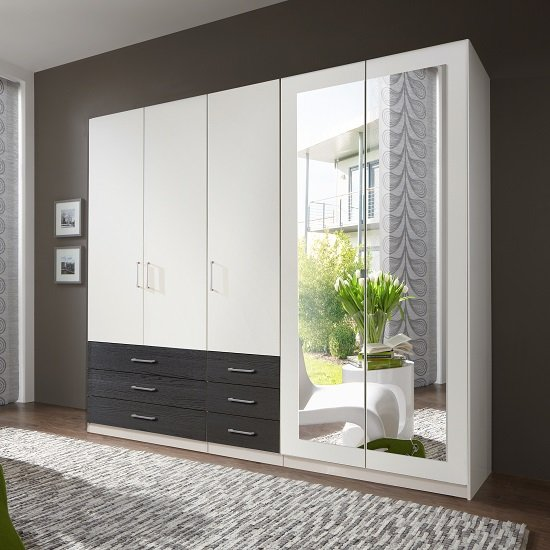 Vestra Mirrored Wardrobe In White And Black With 5 Doors