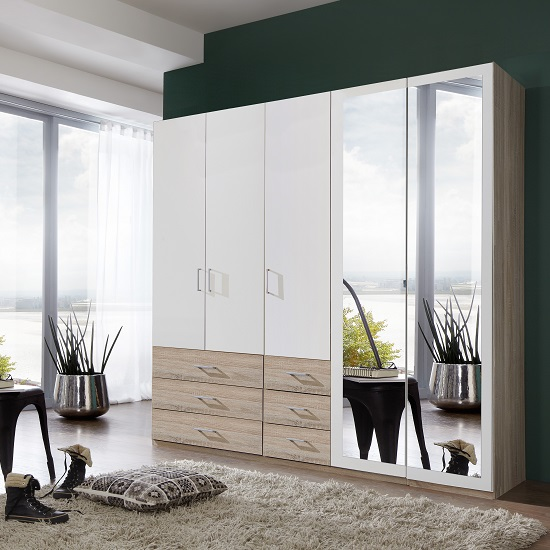 Vestra Mirrored Wardrobe In Oak Effect And White With 5 Doors