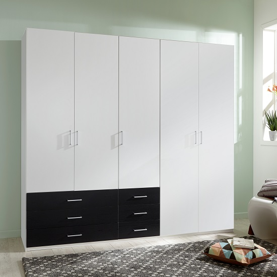 Vestra Wooden Wardrobe In White And Black With 5 Doors