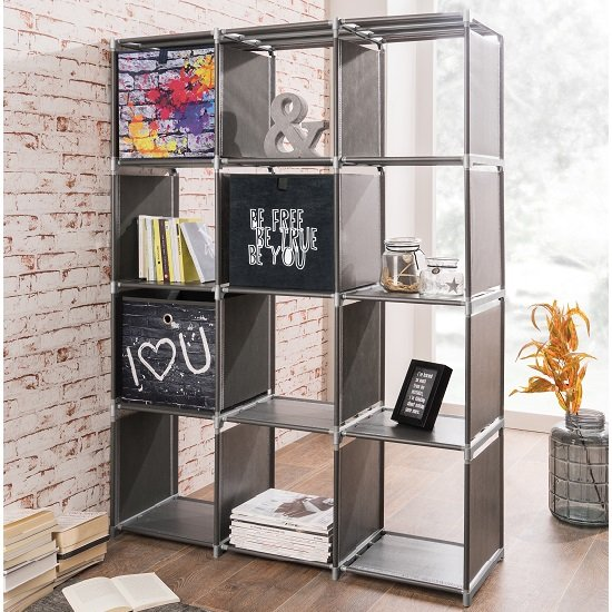 Vetra Shelving Unit In Anthracite With 12 Compartments_1