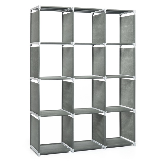 Vetra Shelving Unit In Anthracite With 12 Compartments_2