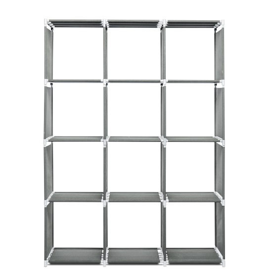 Vetra Shelving Unit In Anthracite With 12 Compartments_3
