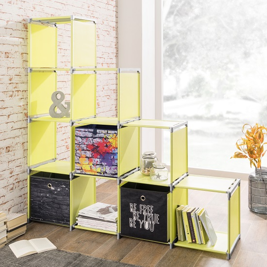 Photo of Vetra display stand in apple green with 10 compartments