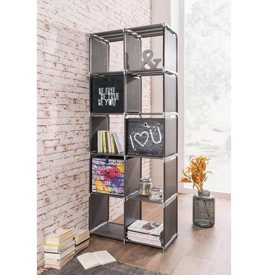 Vetra Shelving Unit Tall In Anthracite With 10 Compartments_1