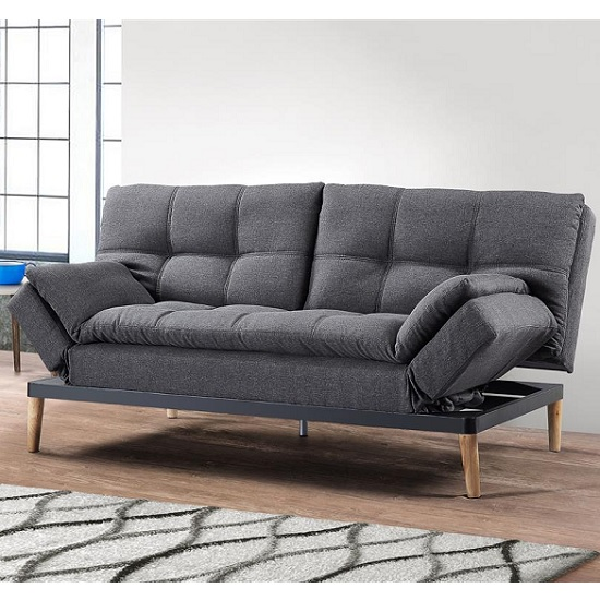 Product photograph showing Viano Fabric Sofa Bed In Grey With Wooden Legs