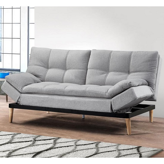 Product photograph showing Viano Fabric Sofa Bed In Light Stone Grey With Wooden Legs
