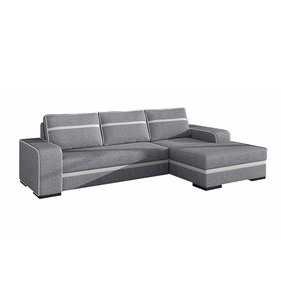 Viano Fabric Corner Sofa Bed In Grey With Dark Feet