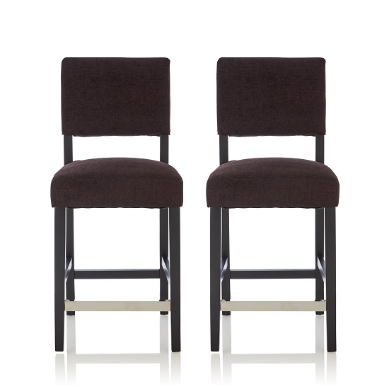 Vibio Bar Stools In Aubergine Fabric And Black Legs In A Pair