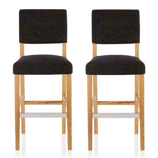 Vibio Bar Stools In Aubergine Fabric And Oak Legs In A Pair