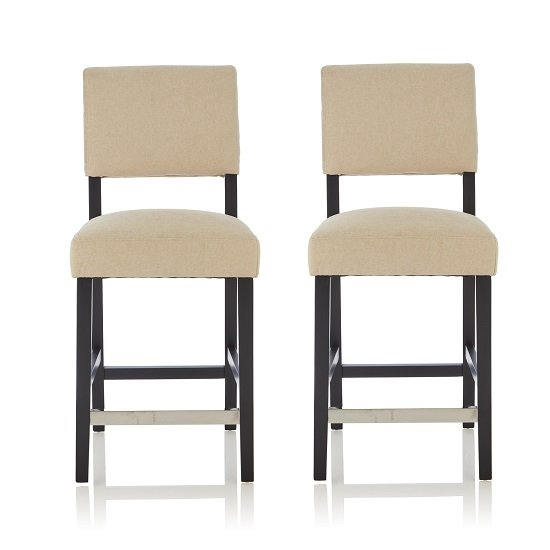 Vibio Bar Stools In Cream Fabric And Black Legs In A Pair