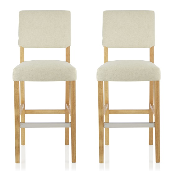 Vibio Bar Stools In Cream Fabric And Oak Legs In A Pair