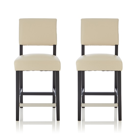 Vibio Bar Stools In Cream PU With Black Legs In A Pair