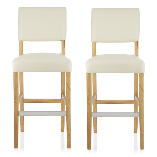 Vibio Bar Stools In Cream PU With Oak Legs In A Pair