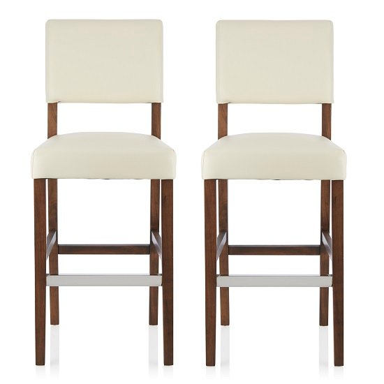 Vibio Bar Stools In Cream PU With Walnut Legs In A Pair