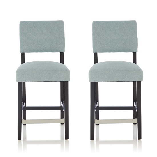 Vibio Bar Stools In Duck Egg Fabric And Black Legs In A Pair