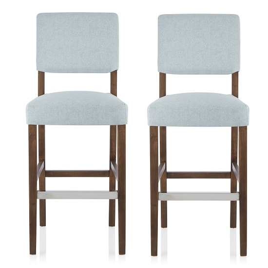 Vibio Bar Stools In Duck Egg Fabric And Walnut Legs In A Pair
