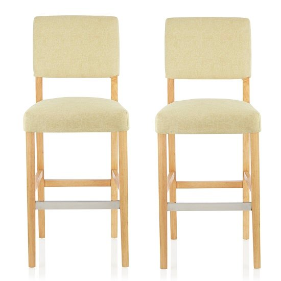 Vibio Bar Stools In Oatmeal Fabric And Oak Legs In A Pair