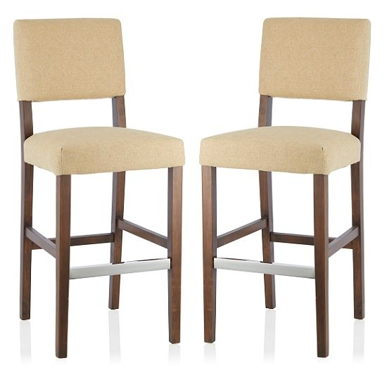 Vibio Bar Stools In Oatmeal Fabric And Walnut Legs In A Pair