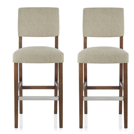 Vibio Bar Stools In Sage Fabric And Walnut Legs In A Pair