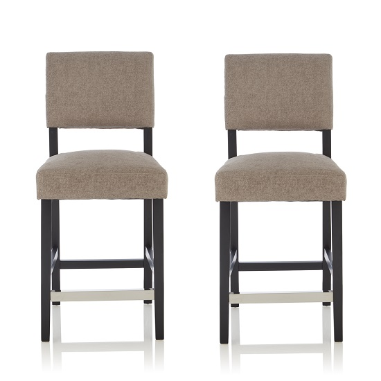 Vibio Bar Stools In Silver Fabric And Black Legs In A Pair