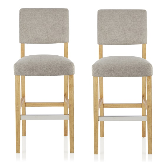 Vibio Bar Stools In Silver Fabric And Oak Legs In A Pair