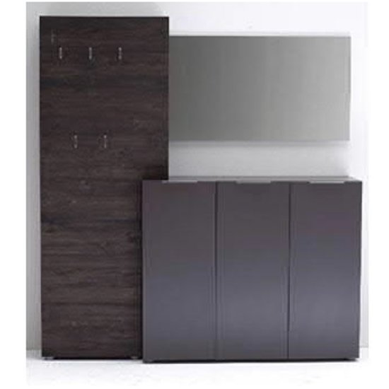 Vicenza Hallway Furniture Set In Anthracite And Wenge