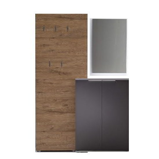Vicenza Hallway Furniture Set In Oak And Anthracite