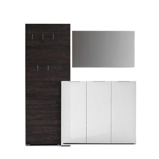 Vicenza Hallway Furniture Set In Wenge And High Gloss White