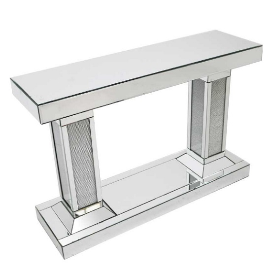 Vicenza Modern Mirrored Rectangular Console Table