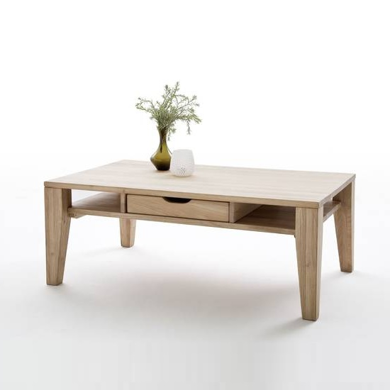 View Vicenza wooden coffee table in bianco oak with 1 drawer