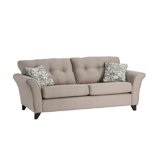 Vicenza Fabric 3 Seater Sofa In Oyster With Dark Feet
