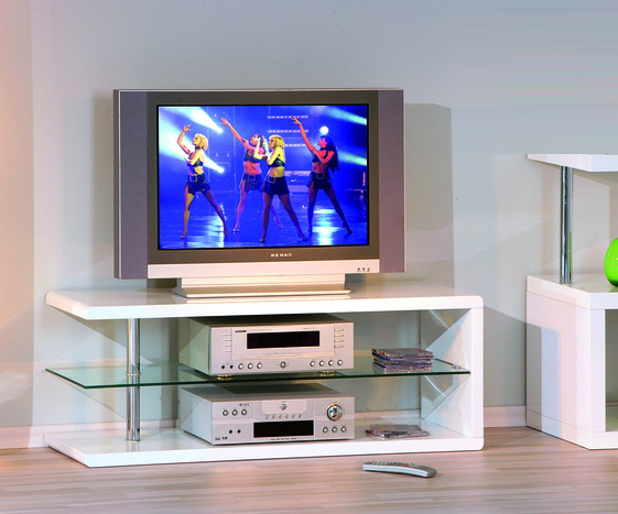 Vico High Gloss White Tv Unit With Glass Shelf