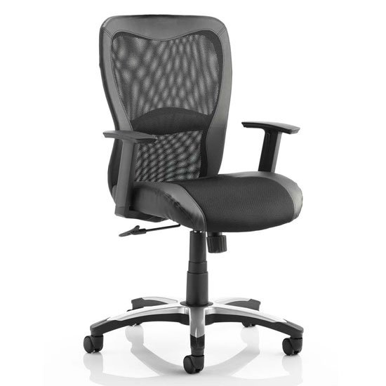 Victor II Leather Executive Office Chair In Black With Arms