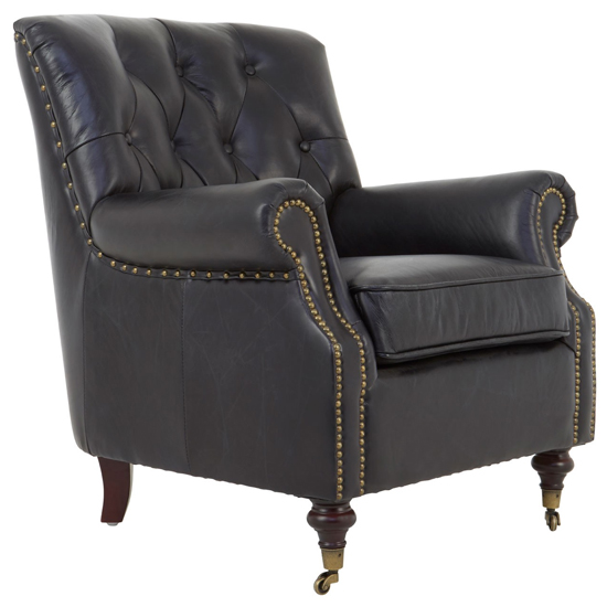 Victor Leather Armchair In Black