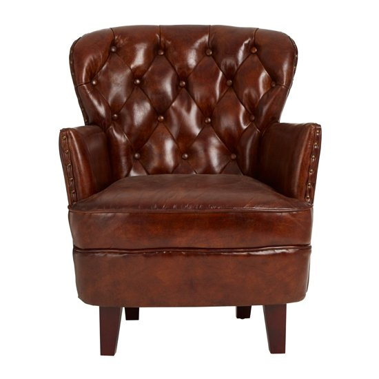 Sadalmelik Leather Button Back Armchair In Mocha Brown    _2