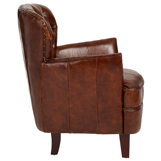 Sadalmelik Leather Button Back Armchair In Mocha Brown    _3