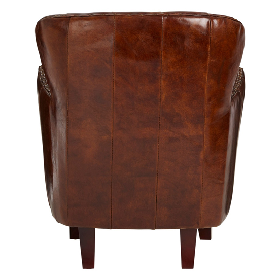 Sadalmelik Leather Button Back Armchair In Mocha Brown    _4
