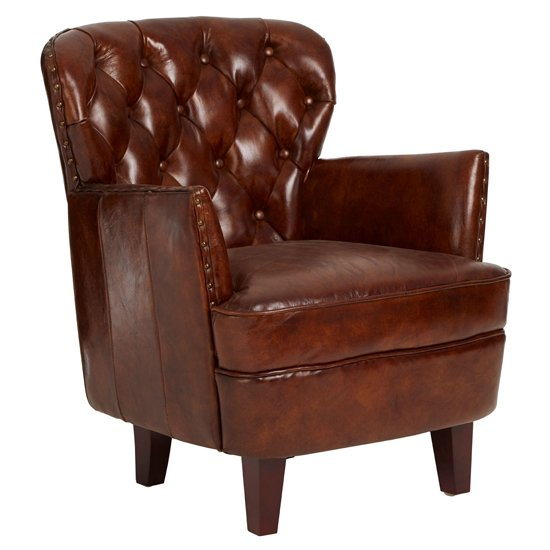 Sadalmelik Leather Button Back Armchair In Mocha Brown