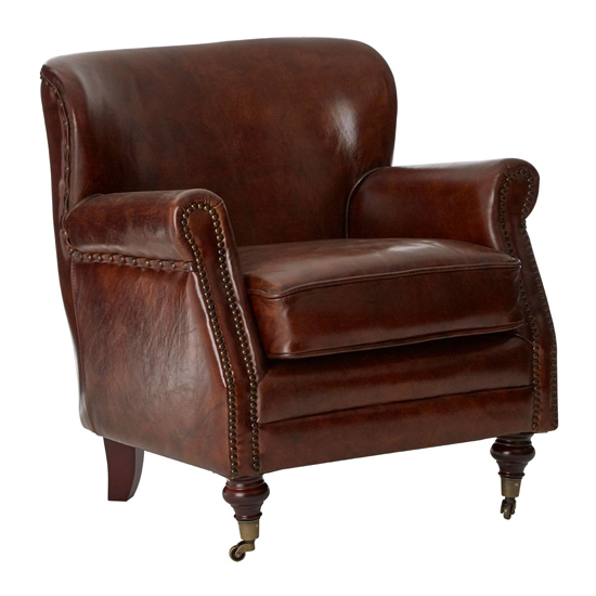 Sadalmelik Leather Classic Armchair In Mocha Brown
