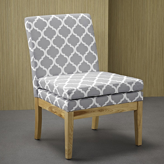 Victor Linen Fabric Upholstered Dining Chair In White And Grey